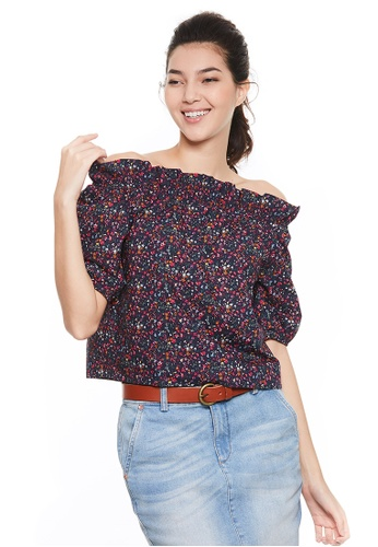 United Colors of Benetton navy Printed Boat-neck Blouse B110BAAE38C17FGS_1