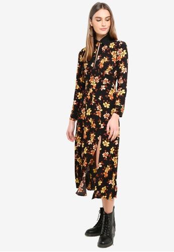 TOPSHOP 黑色 Autumn Floral Print Midi Skater Dress CF0B0AA3DA8998GS_1