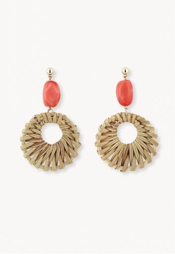 Pomelo red Weave Wheel Drop Earrings - Red 52118ACC79A04BGS_1