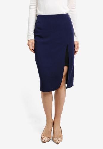 ZALORA navy Pencil Skirt with Slit 23CCDAAF30CB38GS_1