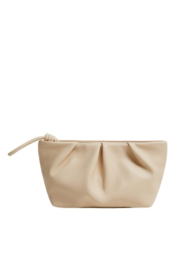 Mango beige Pleated Cosmetic Bag 5AEADAC4272735GS_1