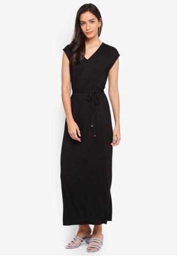 Dorothy Perkins black Crochet Back Jersey Maxi Dress C7A5FAAF3F74A0GS_1