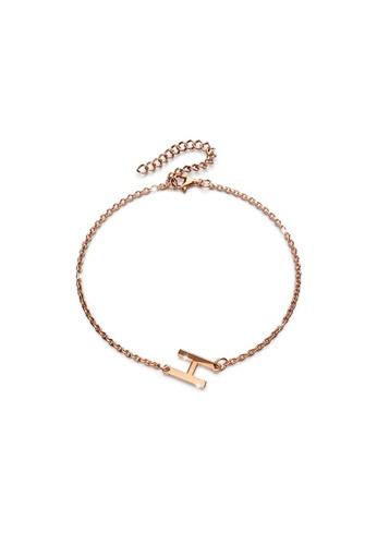 Bullion Gold gold BULLION GOLD Bold Alphabet Letter Initial Charm Bracelet in Rose Gold Tone - H 7A1F9AC47FFF26GS_1