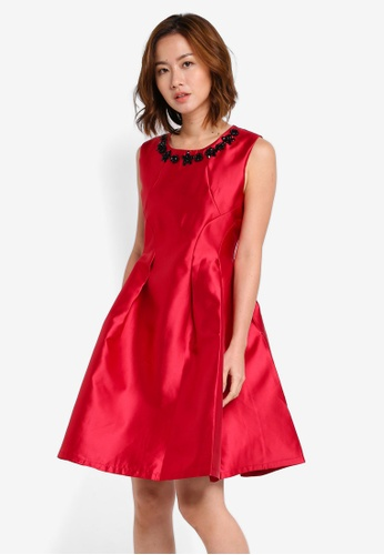 Megane red Red Romance Searlait Beaded Neckline Dress ME617AA0SZX8MY_1