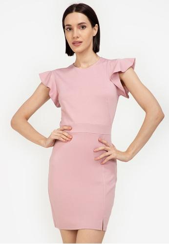 ZALORA WORK pink Flare Sleeves Sheath Dress 7D883AA2EA0204GS_1