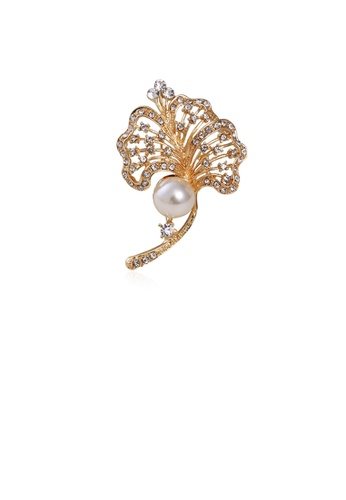 Glamorousky white Fashion and Elegant Plated Gold Flower Imitation Pearl Brooch with Cubic Zirconia FF6DEACC2B14AAGS_1