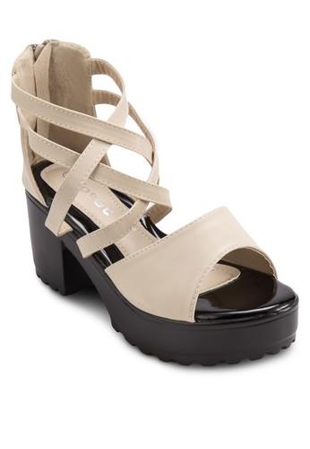 露趾多帶包跟粗跟涼鞋, 女鞋, 細zalora 包包評價帶高跟鞋