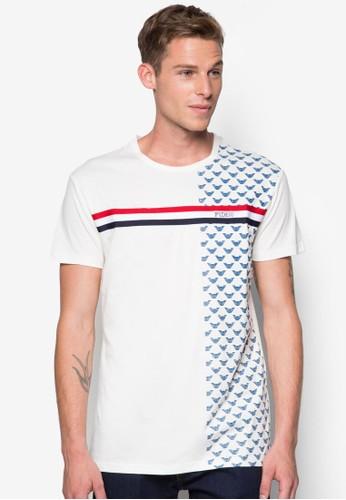 條紋印花圓esprit taiwan領T 恤, 服飾, T恤