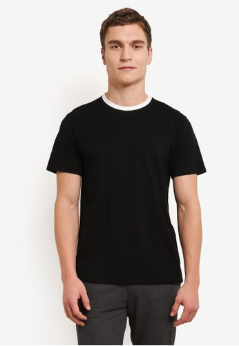 ZALORA black Contrast Crew Neck Short Sleeve Tee 998CBAA44D1607GS_1
