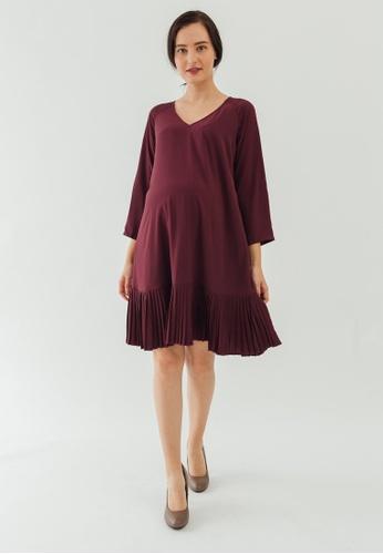 Bove by Spring Maternity purple Long Sleeves Brett Pleated Hem Dress 78A49AA5A44EAAGS_1