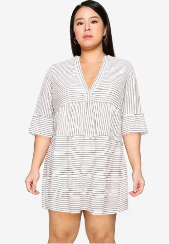 Vero Moda white Plus Size Heli 3/4 Short Dress D5DE1AAFB55B56GS_1