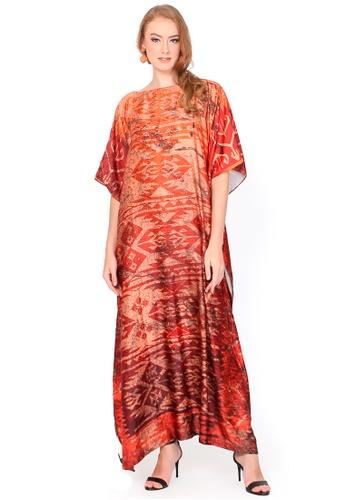 Kanzi by liza yahya orange Kanzi Exclusive Short Sleeve Ethnic Kaftan AA9F6AA9023397GS_1