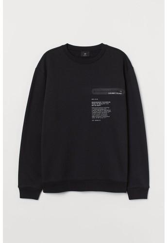 H&M black Chest-pocket sweatshirt 43950AA458611DGS_1