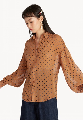 e92f2e34c1060 Buy Pomelo Sheer Puff Sleeve Blouse - Brown Online on ZALORA Singapore
