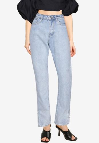 MISSGUIDED blue Wrath Split Hem Jeans 864E7AA4CBF219GS_1