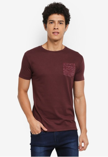 Penshoppe red Semi Fit T-Shirt With Pocket 36C24AA1BF3426GS_1