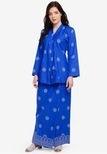Cotton Tradisional Kebaya With Songket Print (Tabur) from Kasih in Blue and Silver