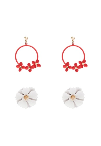 Red's Revenge red 2-in-1 Fun Florals Earrings Set 599F9AC88D839DGS_1