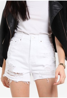 TOPSHOP  MOTO Longline Denim Mom Shorts