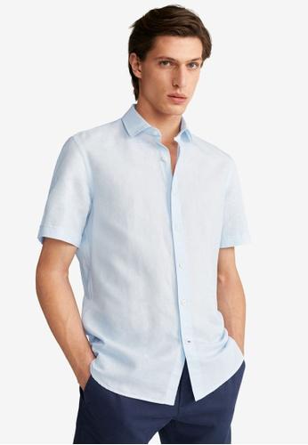 Mango Man blue Regular Fit Cotton Linen-Blend Shirt 07A4FAAE94C4D3GS_1