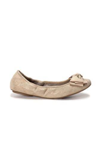 Shu Talk 金色 AMAZTEP 全新舒適鞋底蝴蝶結芭蕾舞平底鞋 14A89SH377D4C1GS_1