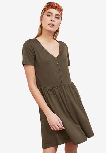 Trendyol green V Neck Flounce Dress 98D69AAB8DA0BFGS_1