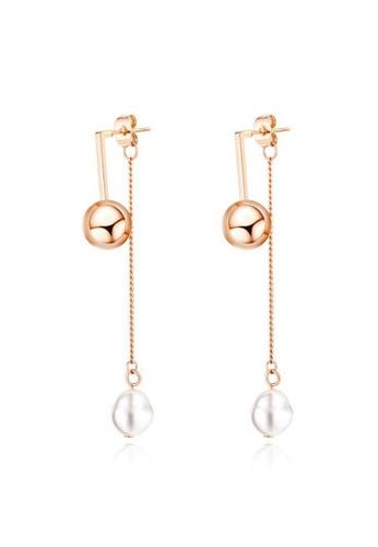 CELOVIS blue CELOVIS - Madeleine Ball Drop with Pearl Dangle Earrings in Rose Gold A26E1ACA5CFEF7GS_1