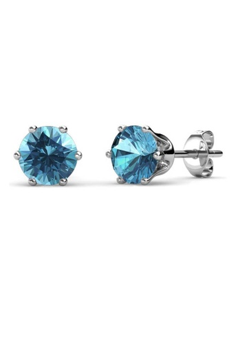 Her Jewellery blue Birth Stone Earrings (December, White Gold) - Made with premium grade crystals from Austria DA523AC71D402FGS_1