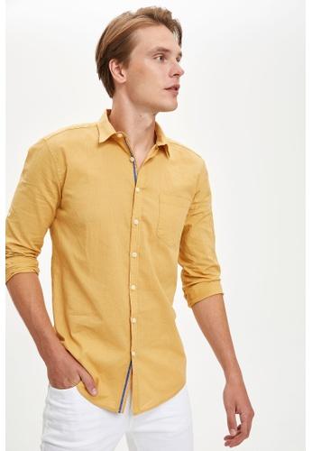 DeFacto yellow Man Woven Long Sleeve Shirt 5D761AAA8DBCACGS_1