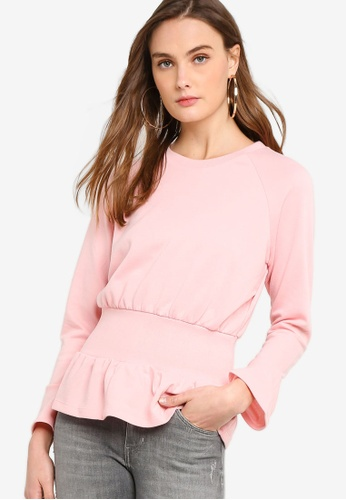 Guess pink Guess Cinched-Waist Bell Sleeve Pullover Top D3E3DAA17AEF11GS_1