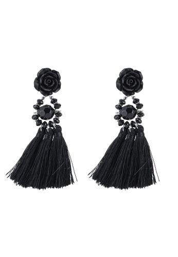 Red's Revenge black Beaded Floral Tassel Statement Earrings 8D77EAC4AB47FFGS_1