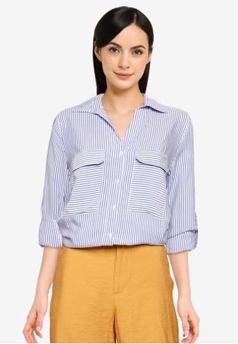 LC WAIKIKI blue Striped Viscose Shirt C2B8AAA8DC0588GS_1