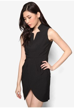 Open Collar Wrap Dress