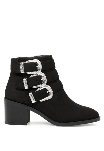 London Rag 黑色 黑色时尚拉链饰扣踝靴 SH1728 0DF95SH446A8CCGS_1
