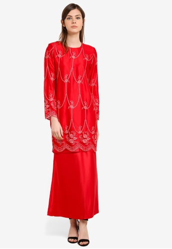 Gene Martino red Fairy Kurung With Exclusive Glittered Embroidery Scallop Lace GE222AA0S768MY_1
