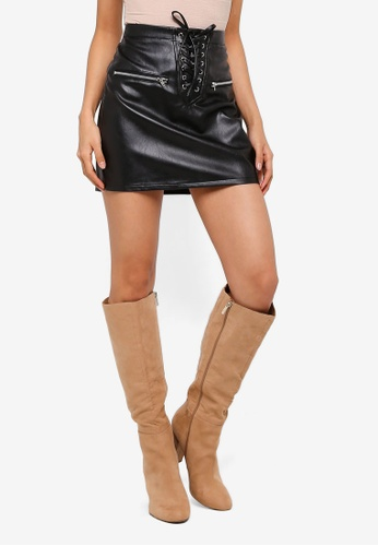 MISSGUIDED black Lace Up Zip Faux Leather Mini Skirt 26896AABEE23BDGS_1
