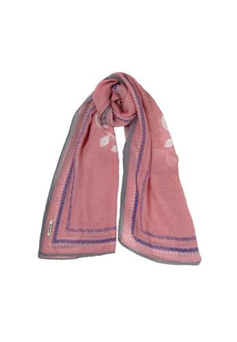 Le'Rosetz multi Pink Polkadot Plisket Scarf 457A7AAD665564GS_1