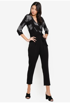 a843e47b993 60% OFF Dorothy Perkins Black Feather Wrap Jumpsuit RM 289.00 NOW RM 115.90  Sizes 8