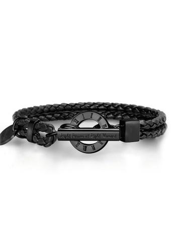 Crudo Leather Craft black La Memoria Double Woven Leather Bracelet - Jet Black (Piano Black Edition) 1DC21AC8D15E1AGS_1
