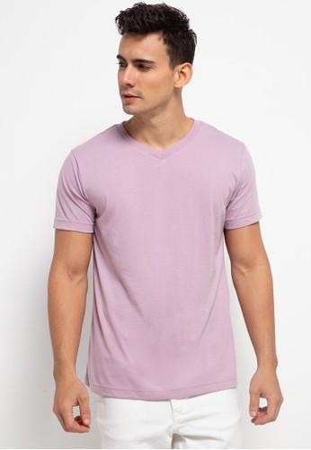 Tolliver purple V Neck Basic Short Sleeve Tee 69C4FAA7960578GS_1
