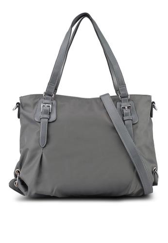 NUVEAU grey PU-Trimmed Nylon Convertible Shoulder Bag D2EAEAC5759E7CGS_1