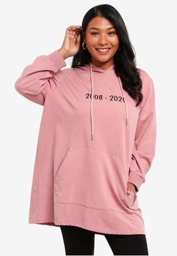 CURVA FABULOUS pink 2020 Millennium Hoodie Plussize Top 6B562AA952ECB9GS_1