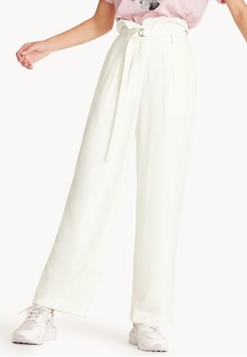 Pomelo white Eva Wide Leg Foldover Pants BAE38AA755F17FGS_1