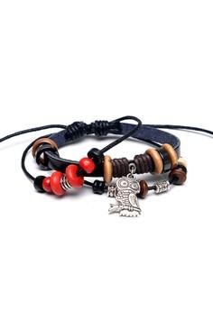 Ladies Hand-Woven Leather Beaded Bracelet