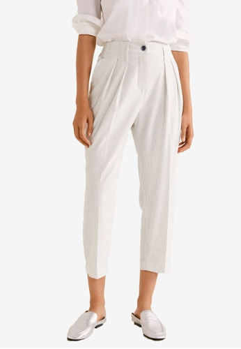 a3a189f081 Mango white Texture Striped Pants 084ECAA09F45E1GS 1