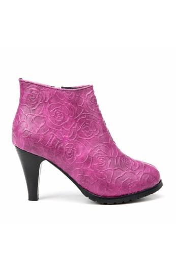KissXXX multi Printed Gold Rose High Heel Fuchsia Boots KI688SH2VN2THK_1