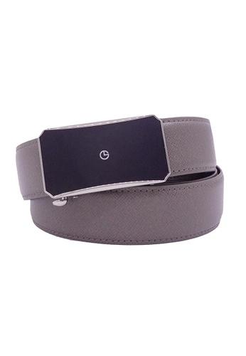 Goldlion grey Goldlion Men Leather Auto-Lock Buckle Belt - Grey 90091ACC9BAAF6GS_1