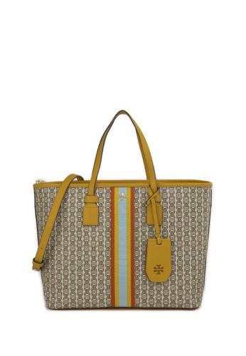 TORY BURCH yellow SMALL GEMINI LINK GEMINI LINK Canvas Tote Bag 885DAAC6E7289EGS_1
