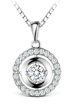 T400 Sterling Silver Jewelry White And 925 Round Pendant Zirconia Swarovski Elements Necklace