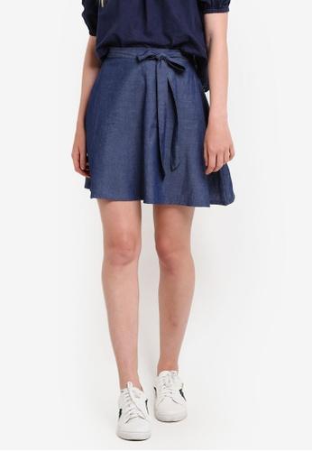 ZALORA blue Love Full Circle Skirt with Waist Tie 89D2BAA3A3930EGS_1